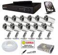 Kit CFTV Completo DVR Stand Alone 16 Canais HDMI + 12 Câmeras Infra 700 Linhas + Fontes + HD de 1TB + Cabos + Conectores
