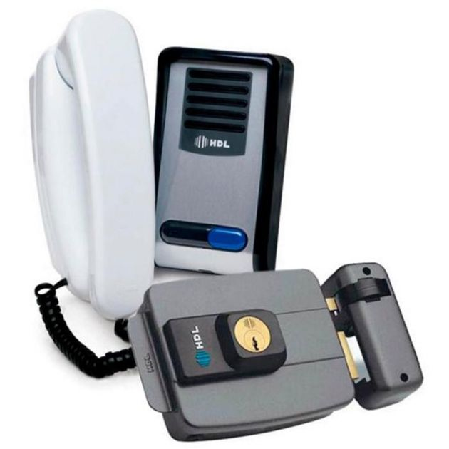 Interfone Porteiro Eletrônico F8 C / Fechadura Elétrica Hdl