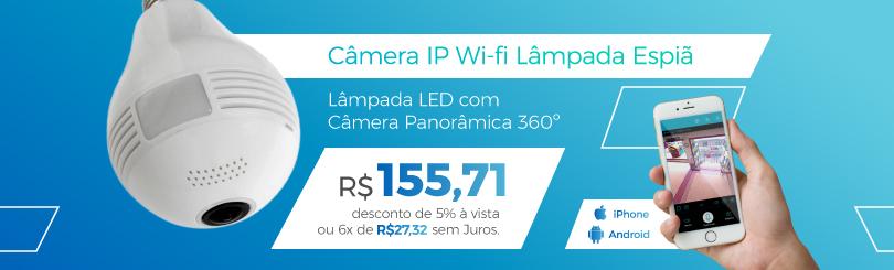 Lâmpada câmera ip wi-fi 360º