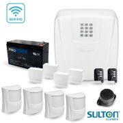 Alarme Completo Sulton Com 4 Sensores IVP Sem Fio Semi-Externo e 4 Sensores Magnéticos Sem Fio