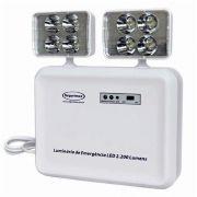 Bloco Luminária de Emergência LED 2200 Lumens Com 2 Faróis Predial Autonomia de 3 Horas Segurimax