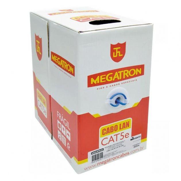 Cabo de Rede Megatron Lan CAT 5e CMX 4 pares 24AWG Homologado Anatel Caixa 305m