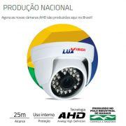 Câmera AHD Dome Infra Vermelho 25 Metros Lente 2.8mm Resolução HD 1280 x 720p - LuxVision