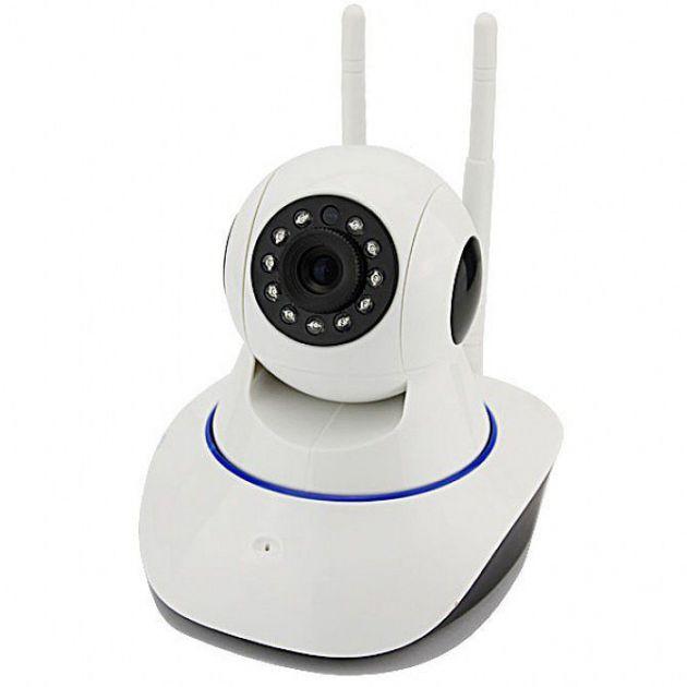 Câmera IP Wireless Alta Definição HD c/ Entrada Cartão de Memória Visualização Remota Pan/Tilt