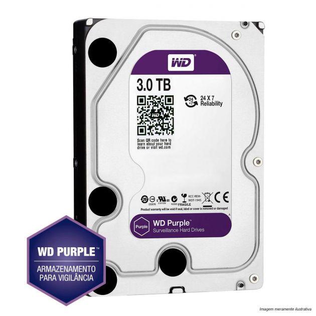 HD Western Digital 3TB WD Purple Surveillance SATA 64MB Cache - WD30PURZ