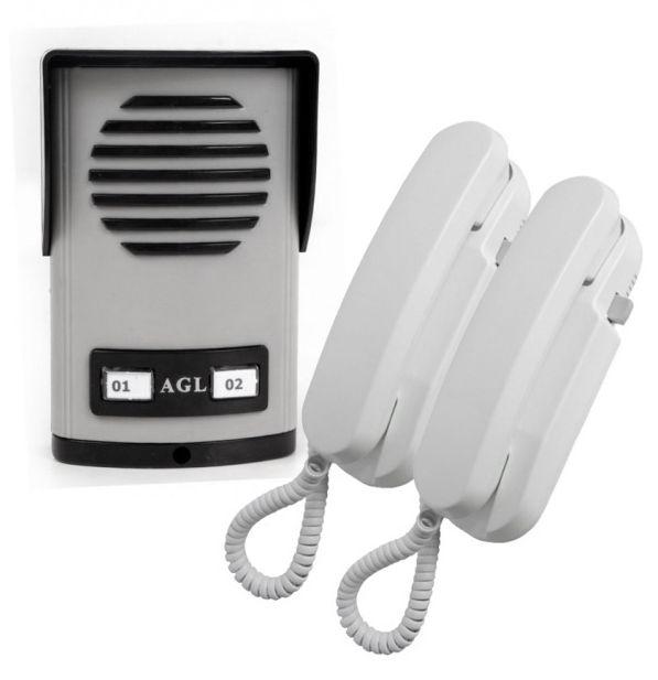 Interfone Porteiro Eletrônico Coletivo de 2 Pontos c/ 2 Monofones AGL - Edíficios ou Salas Comerciais