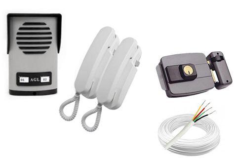 Interfone Porteiro Eletrônico Coletivo de 2 Pontos c/ 2 Monofones AGL + Fechadura Elétrica 12 Volts + Cabo