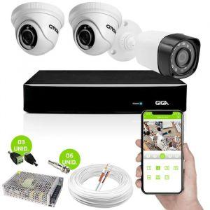 Kit 3 Câmeras de Segurança HD 1 Externa Bullet e 2 Internas Dome Com DVR Giga Security