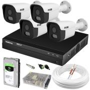 Kit 4 Câmeras de Segurança Full HD Com Imagem Noturna Colorida StarLight Completo c/ DVR Intelbras