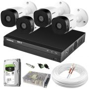 Kit 4 Câmeras de Segurança Intelbras HDCVI Completo c/ DVR MHDX 1004 Intelbras