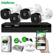 Kit 4 Câmeras de Segurança Intelbras HDCVI Completo c/ DVR MHDX 1104 Intelbras
