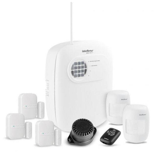 Kit Alarme Intelbras Residencial e Comercial Completo 4 Setores c/ Discadora + 5 Sensores