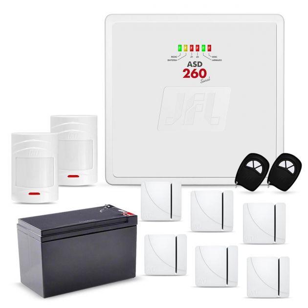 Kit Alarme JFL Completo Com 2 Sensores de Presença e 6 Sensores Magnéticos Sem Fio