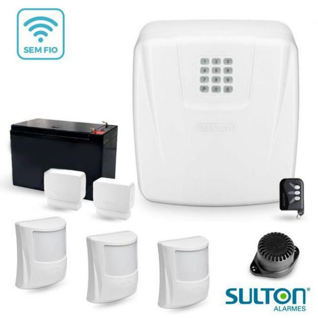 Kit Alarme Completo Sulton CLS 10 c/ Discadora e 5 Sensores Sem Fio