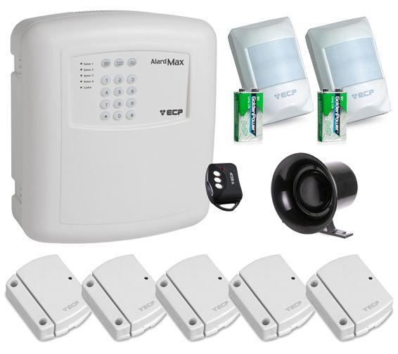 Kit Alarme Sem Fio Com 7 Sensores e Central c/ Discadora Alard Max ECP