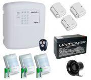 Kit Alarme Sem Fio Alard Max Cell 4 c/ Discadora GSM Chip De Celular + 6 Sensores Sem Fio + Bateria