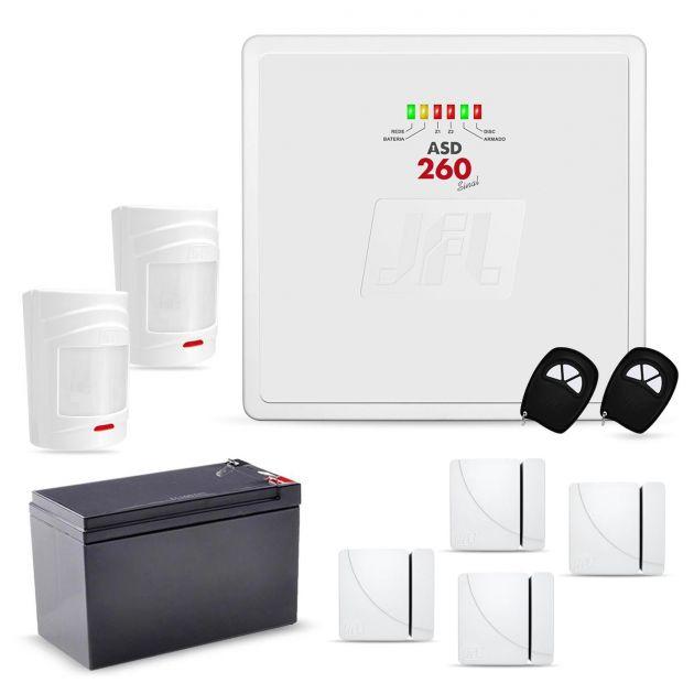 Kit Alarme Sem Fio JFL Com 2 Sensores de Presença e 4 Sensores Magnéticos