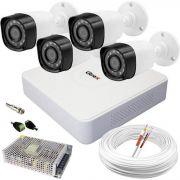 Kit Câmeras de Segurança de Alta Definição c/ DVR 4 Canais Luxvision ECD + 4 Câmeras AHD Bullet Infravermelho + Cabo, Fonte e Conectores