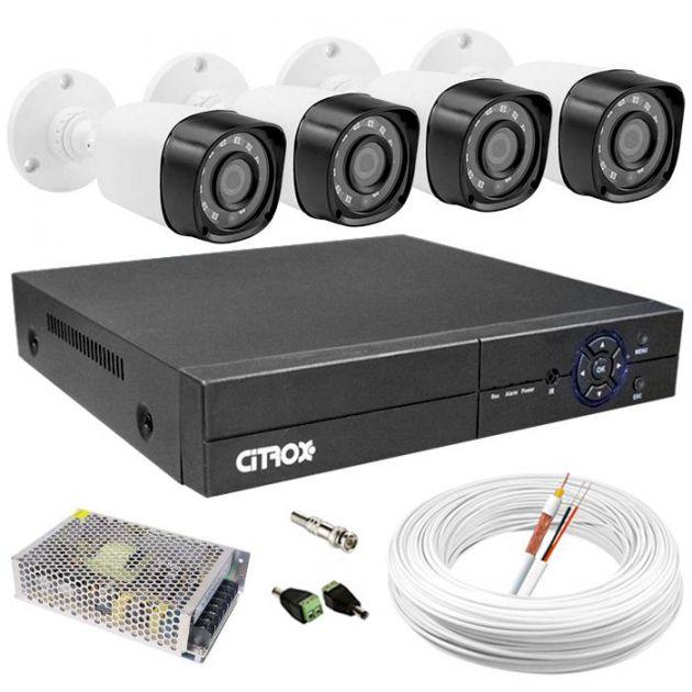 Kit Câmeras de Segurança HD High Definition c/ DVR 8 Canais Luxvision ECD + 4 Câmeras AHD Bullet Infra + Cabo, Fonte e Conectores