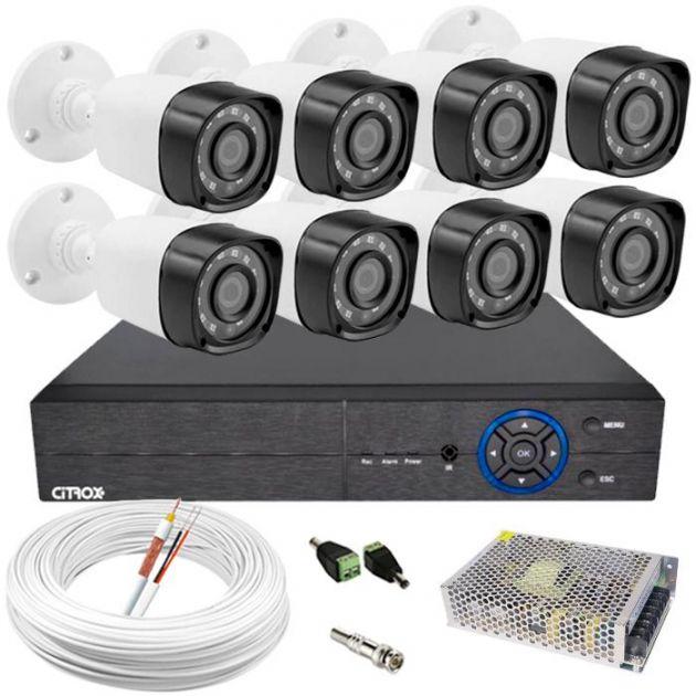 Kit Câmeras de Segurança HD High Definition c/ DVR 8 Canais ECD Luxvision + 8 Câmeras AHD Infravermelho Bullet + Cabo, Fonte e Conectores