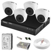 Kit Câmeras Intelbras C/ 4 Dome Internas e DVR MHDX 1104