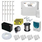 Kit Cerca Elétrica GCP10000 Completo Com Alarme De 4 Sensores Sem Fio   Discadora e Bateria