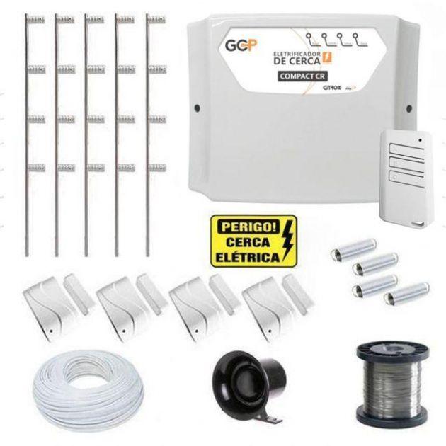 Kit Cerca Elétrica Com Alarme GCP10000 e 4 Sensores Magnéticos Sem Fio - Para Até 120m de Muro