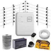 Kit Cerca Elétrica Industrial C/ Big Hastes de 1 Metro e Central de Choque e Alarme Intelbras - 100 Metros de Muro
