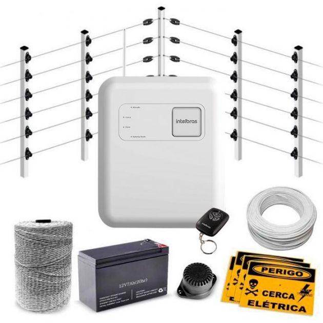 Kit Cerca Elétrica Industrial C/ Big Hastes de 1 Metro e Central de Choque e Alarme GCP - 50 Metros de Muro
