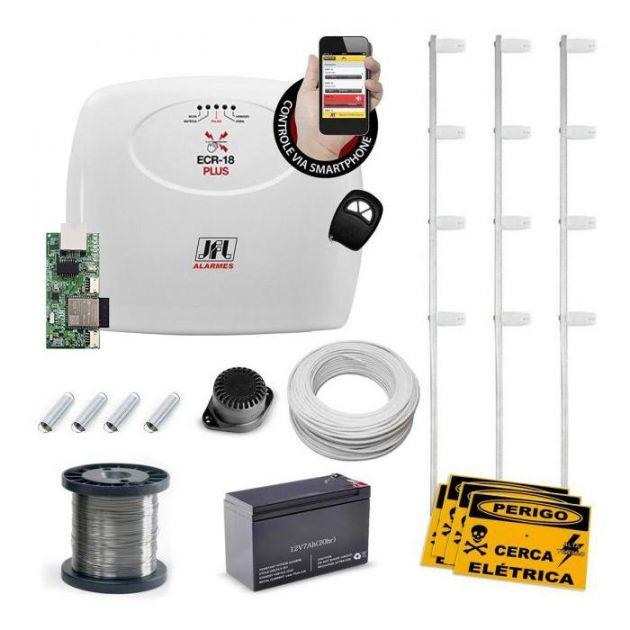 Kit Cerca Elétrica JFL Controlado Por Aplicativo Celular Com Setor de Alarme - 50m de Muro