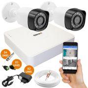 Kit CFTV 2 Câmeras de Segurança de Alta Definição HD e DVR 4 Canais Luxvision ECD + Acessórios