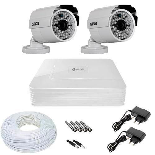Kit CFTV 2 Câmeras de Segurança HD 720p e DVR 4 Canais Alive 1080N + Acessórios