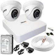Kit CFTV Completo c/ 2 Câmeras de Segurança de Alta Definição 720p e DVR de 4 Canais Full HD Luxvision ECD