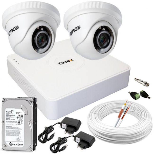 Kit CFTV Completo 2 Câmeras de Segurança de Alta Definição e DVR 4 Canais Full HD Citrox