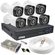 Kit CFTV 6 Câmeras de Segurança de Alta Definição HD Infravermelho e DVR 8 Canais Luxvision ECD + Acessórios