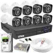 Kit CFTV Completo C/ 8 Câmeras de Segurança Full HD c/ DVR Luxvision ALL HD ECD 8 Canais 1080N