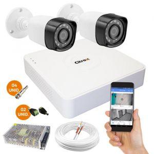 Kit Com 2 Câmeras de Segurança Full HD 1080p e DVR de 4 Canais Citrox