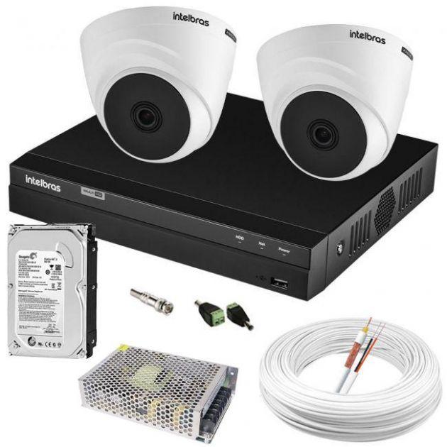 Kit Completo 2 Câmeras Intelbras Dome Internas e DVR MHDX 1104