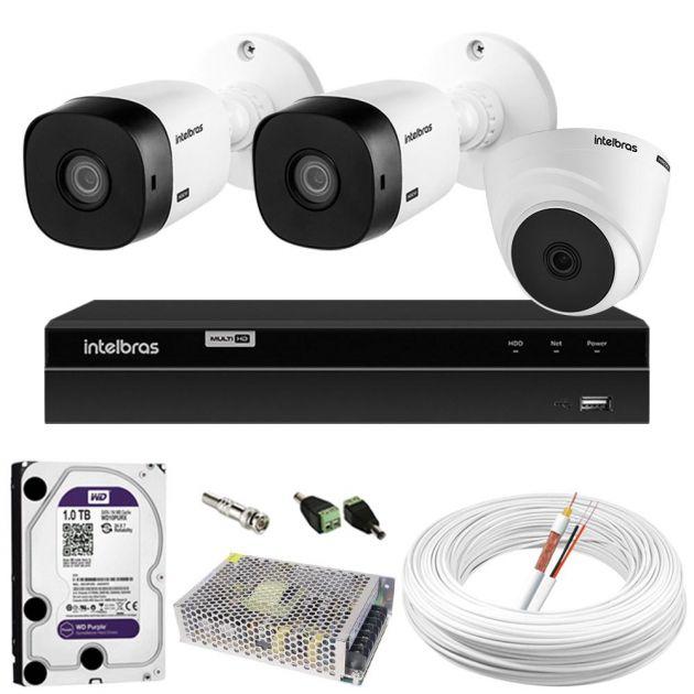 Kit De Câmeras Intelbras Com 2 Bullet Externas e 1 Dome Interna + DVR Híbrido MHDX 1004