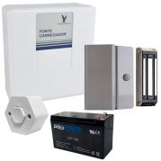 Kit Fechadura Eletromagnética Completo c/ Fonte e Carregador Temporizado, Bateria e Botoeira
