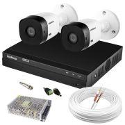 Kit Intelbras Com 2 Câmeras VHL 1120 Bullet e DVR Híbrido MHDX 1004