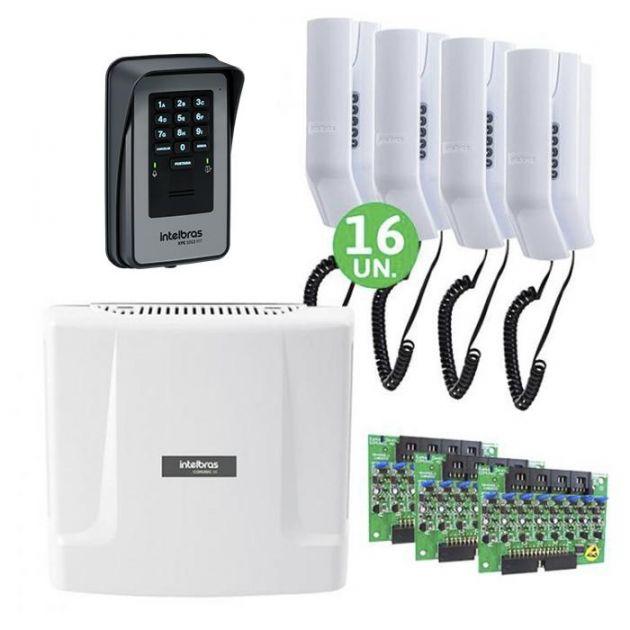 Kit Interfone Digital Completo Comunic 16 Pontos c/ Porteiro Eletrônico - Intelbras
