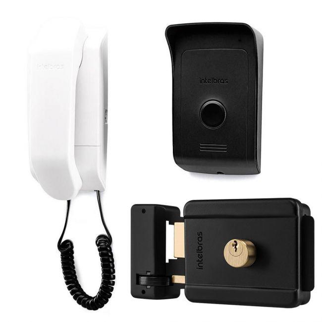 Kit Completo Interfone Intelbras IPR1010 + Fechadura Intelbras FX500 e Cabo