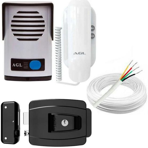 Kit Interfone Porteiro Eletrônico AGL + Fechadura Elétrica 12 Volts + 20 Metros de Cabo