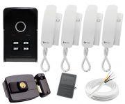 Kit Porteiro Eletrônico Completo 4 Pontos Lider Touch + 4 Monofones + Fechadura + Cabo + Fonte