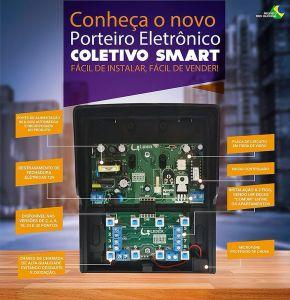 Kit Porteiro Eletrônico Interfone Coletivo 8 Pontos + 6 Monofones Lider + Fechadura Elétrica + Cabo