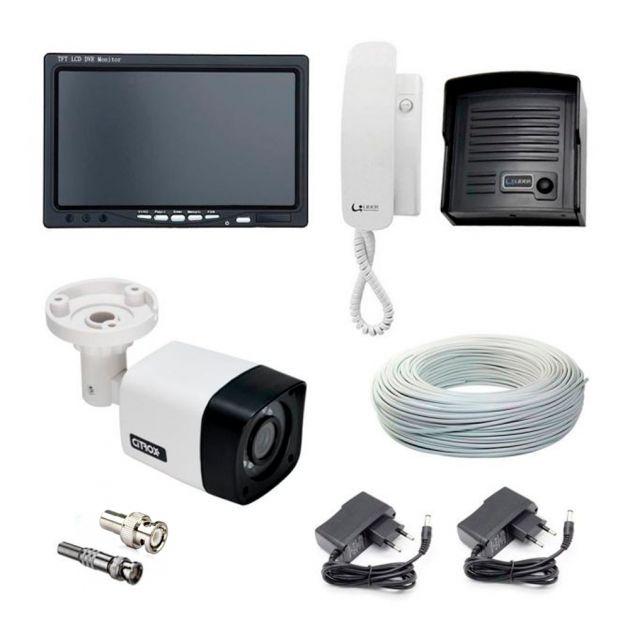 """Kit Porteiro Eletrônico Interfone Com Câmera Infravermelho e Monitor Tela LCD 7"""""""
