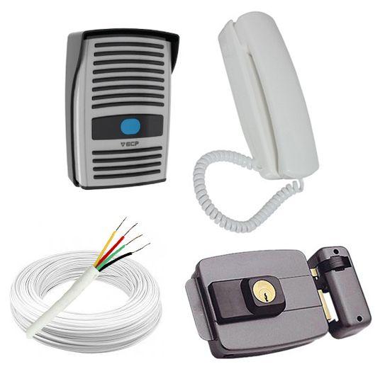 Kit Porteiro Eletrônico Interfone Intervox ECP + Fechadura Elétrica 12 Volts + 20 Metros de Cabo