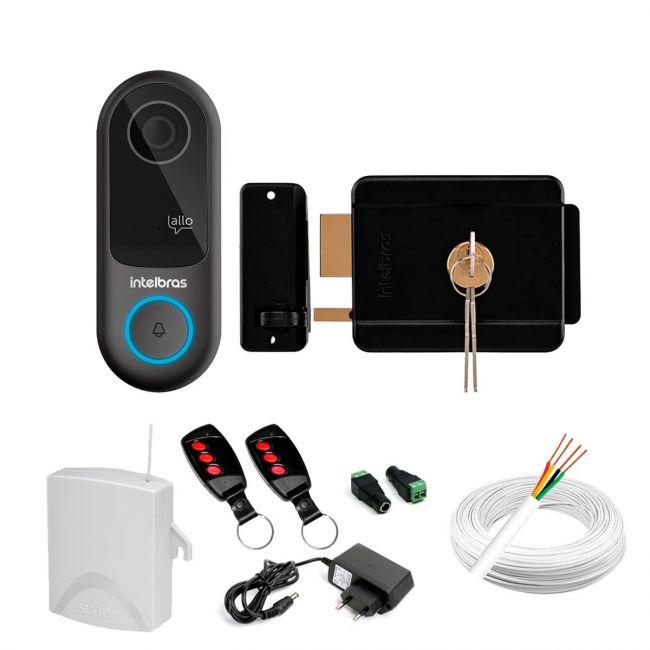 Kit Vídeo Porteiro Allo W3 Intelbras + Fechadura Elétrica Com Acionamento Por Controle Remoto