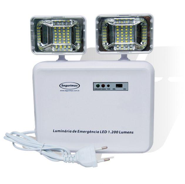 Luminária de Emergência LED 1200 Lumens Bloco 2 Faróis Predial Autonomia de 3 Horas Segurimax